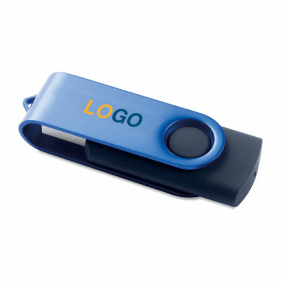 USB lykill blár með merkingu