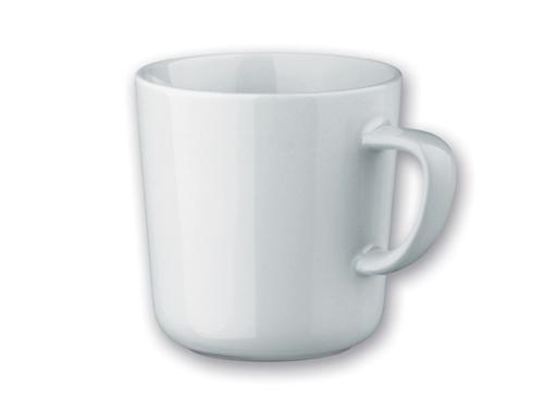 hvítur keramik bolli með logoi eða texta frá Motif
